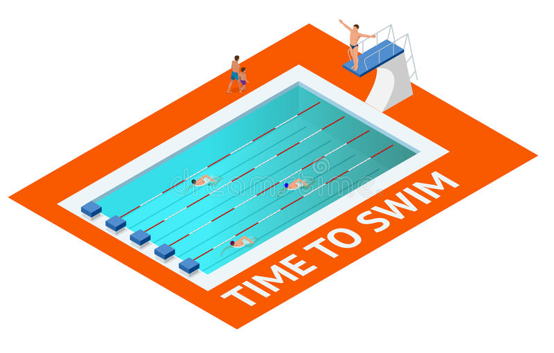 Isometric people diving into water in to the swimming pool, diver. Female swimmer, that jumping and diving into indoor. Sport swimming pool. Sporty woman vector illustration