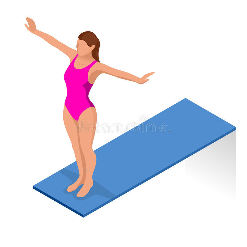 Isometric people diving into water in to the swimming pool. Diver. Female swimmer, that jumping and diving into indoor sport swimming pool. Sporty woman stock illustration