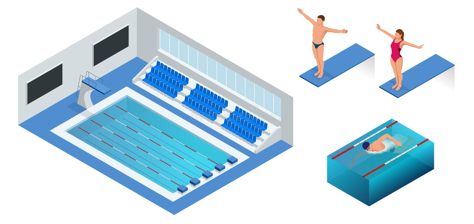 Isometric people diving into water in to the swimming pool, diver. Male swimmer, that jumping and diving into indoor. Sport swimming pool. Sporty man royalty free illustration