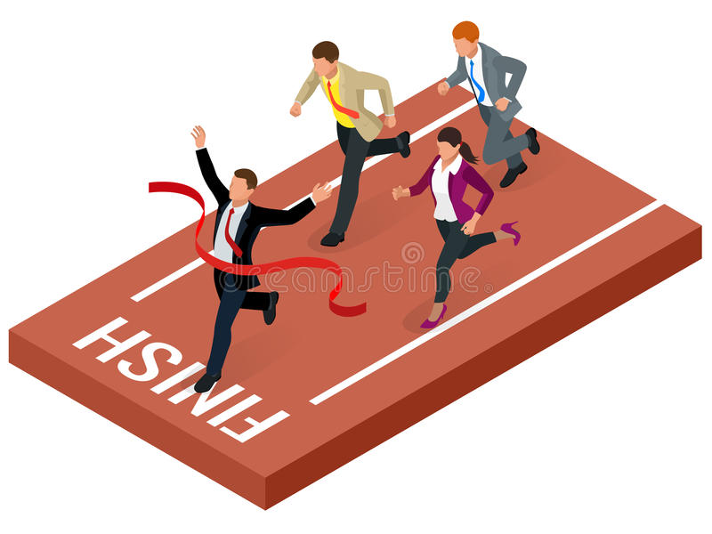Isometric people. Entrepreneur businessman leader. Businessman and his business team crossing finish line and tearing royalty free illustration