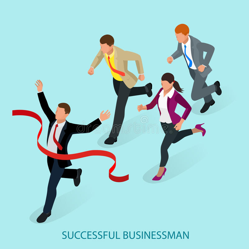 Isometric people. Entrepreneur businessman leader. Businessman and his business team crossing finish line and tearing. Red ribbon finishing first in a market royalty free illustration