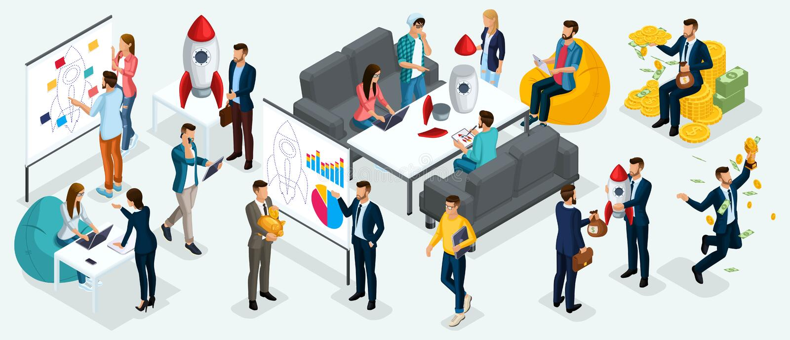 Isometric people, entrepreneurs present a new startup project business plan, development of investment search stock illustration