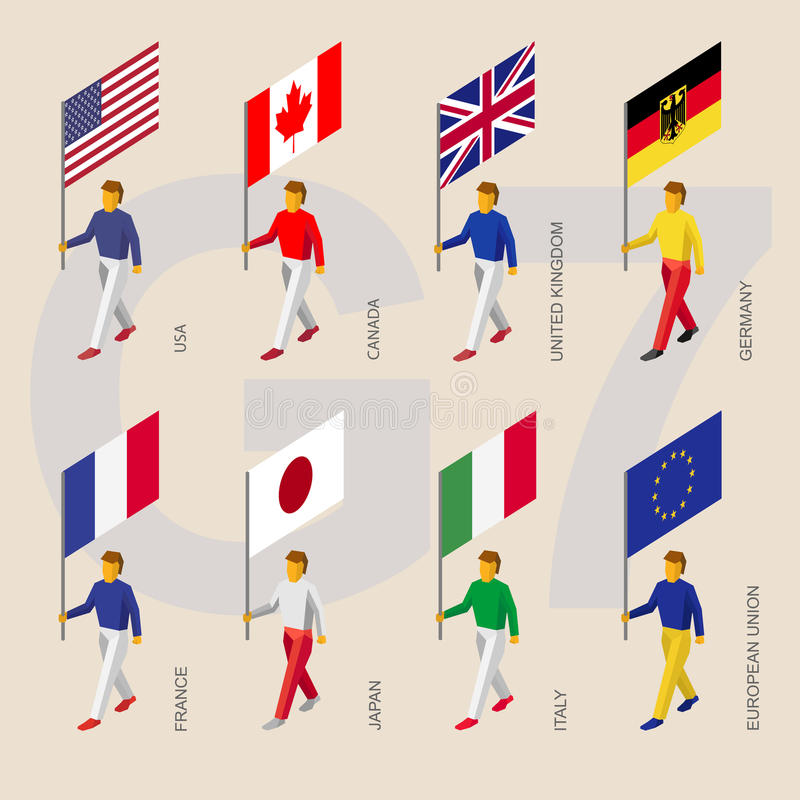 Isometric people with flags of Group of Seven G7 royalty free illustration