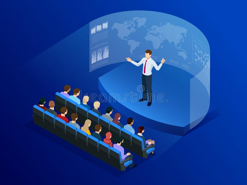 Isometric people in front of the screen for data analysis business. Information Communication Technology. Digital stock illustration