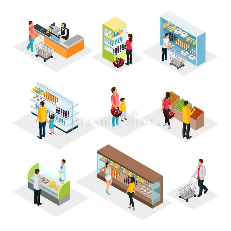 Isometric People In Grocery Shop Set royalty free illustration