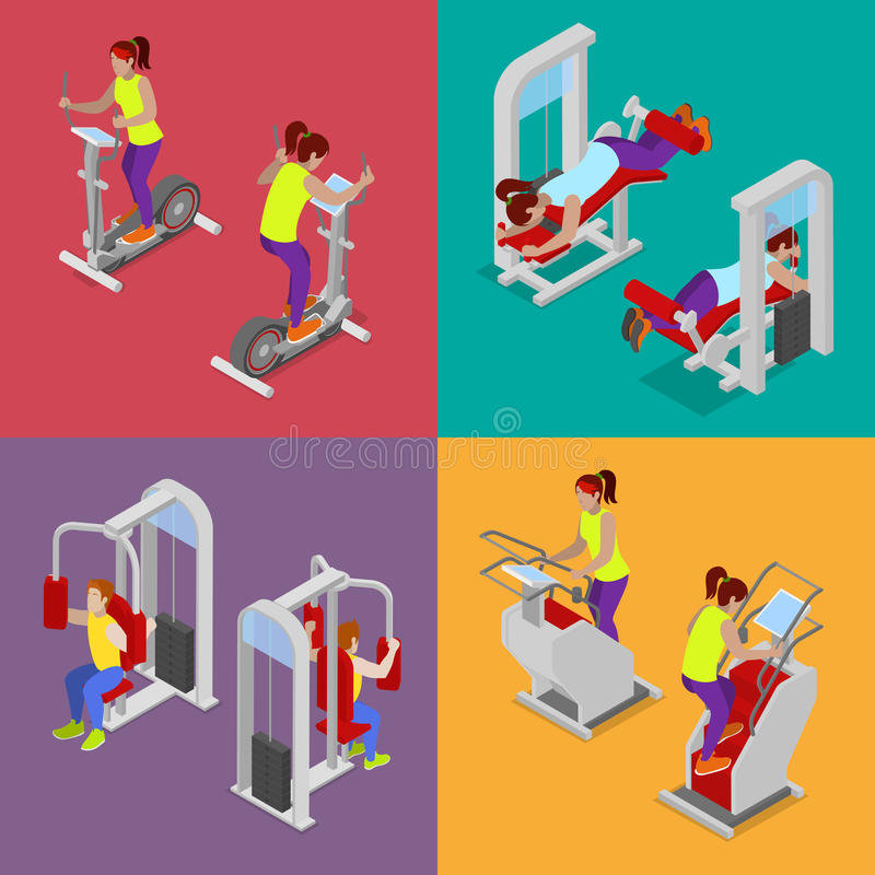 Isometric People at the Gym. Sportsmen Workout. Sports Equipment. Fitness Exercises stock illustration