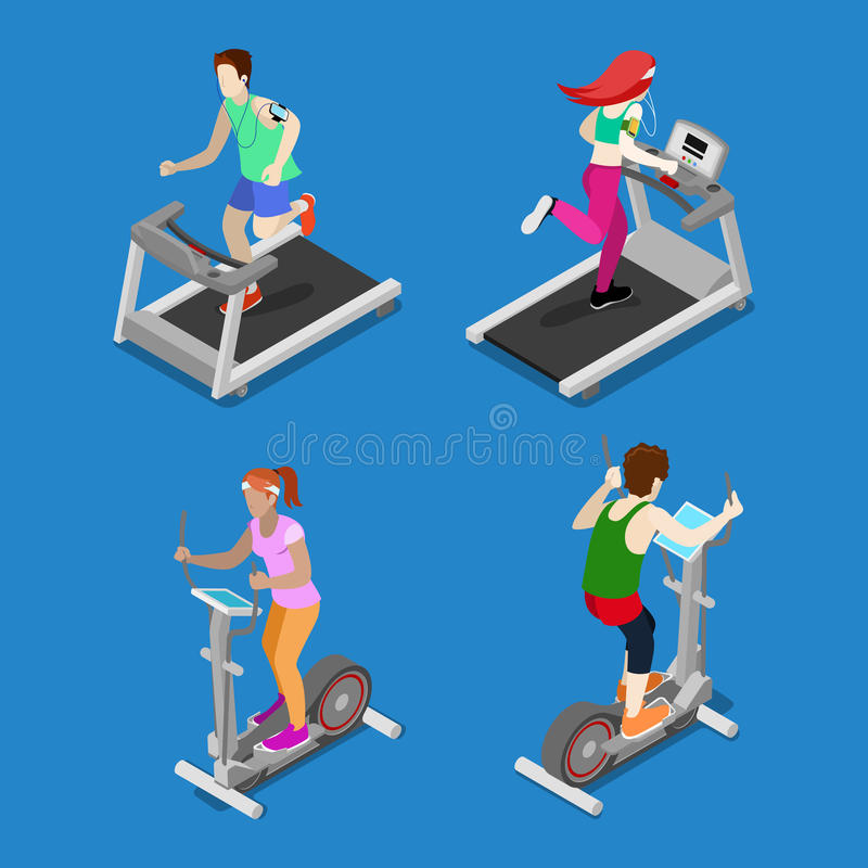 Isometric People. Man and Woman Running on Treadmill in Gym stock illustration