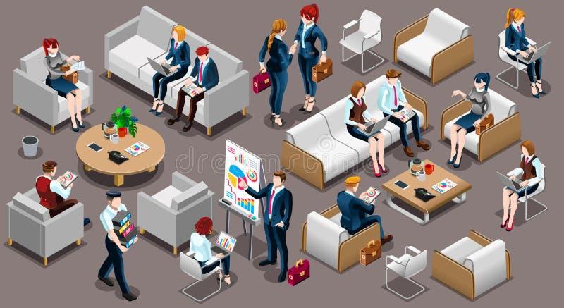 Isometric People Meeting Room Icon 3D Set Vector Illustration stock illustration