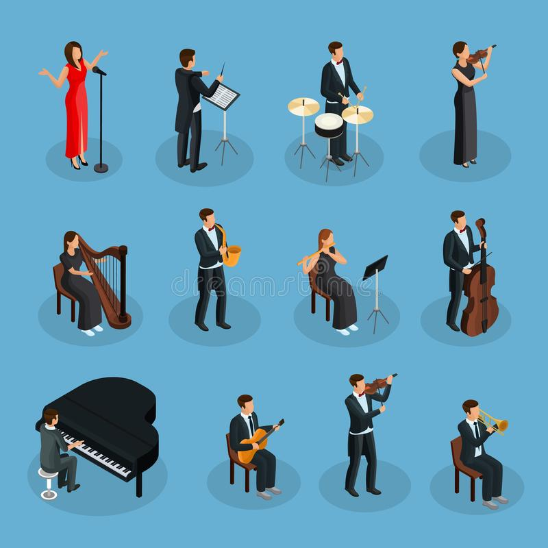Isometric People In Orchestra Collection stock illustration