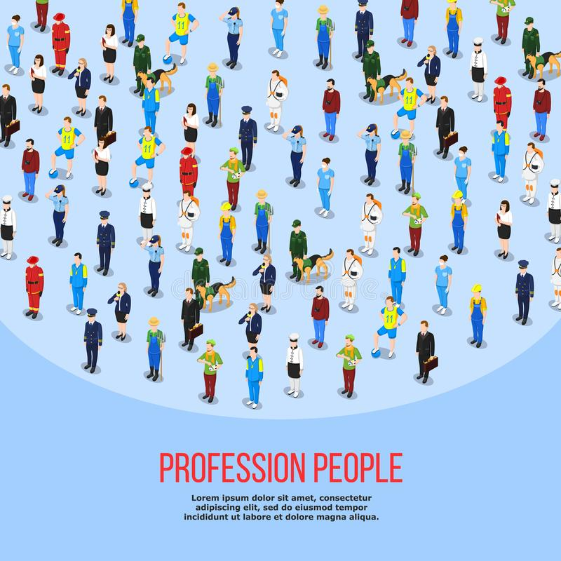 Isometric People Professions Background vector illustration