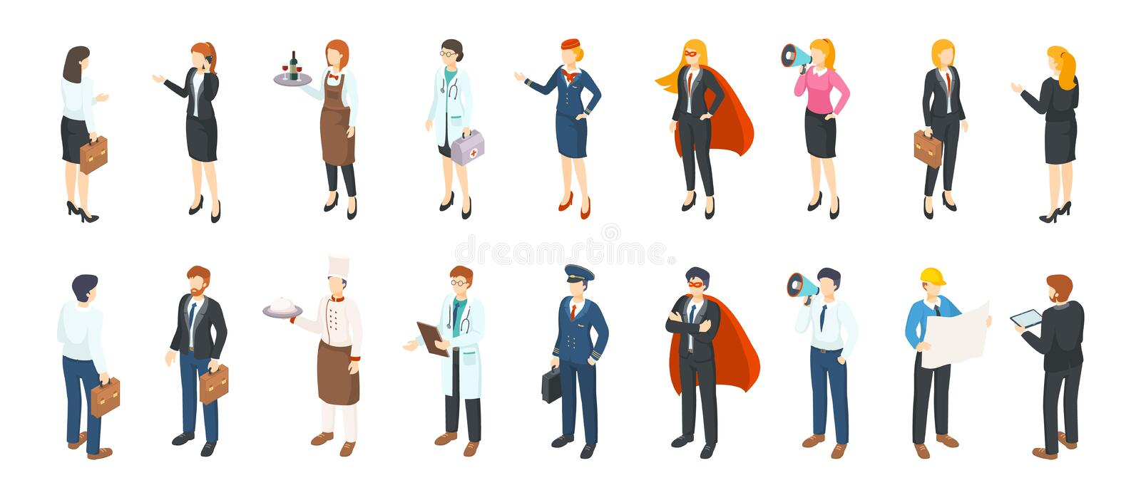 Isometric people professions. Men and women in different professional suits and uniforms, flat office characters. Vector vector illustration