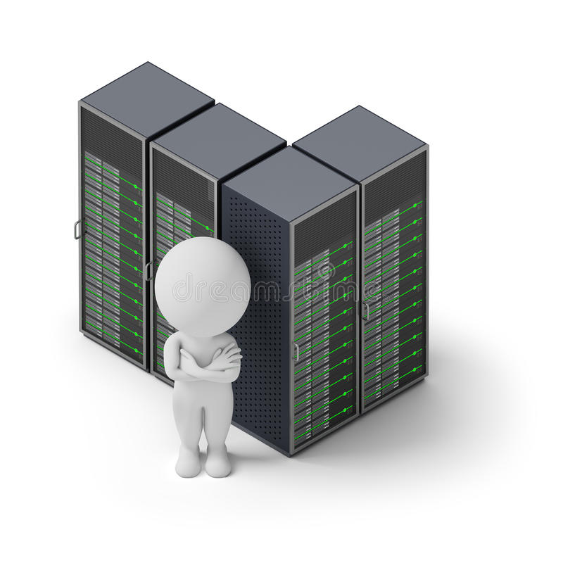 Isometric people - servers stock illustration