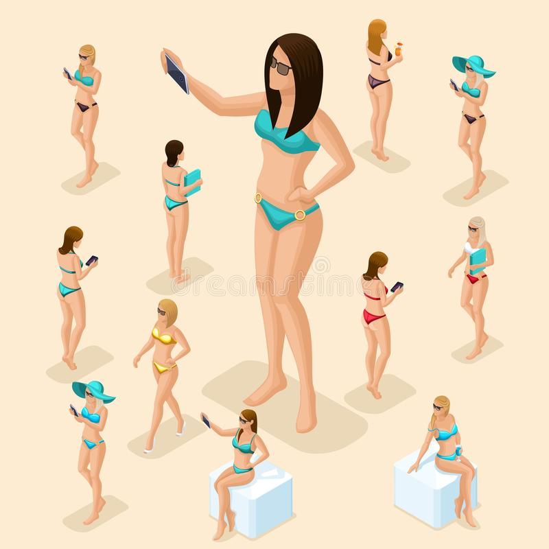 Isometric people set of girl, 3d woman on the beach, great choice, front view rear view, standing, sitting, girl in swimsuit for. Summer vector illustration royalty free illustration