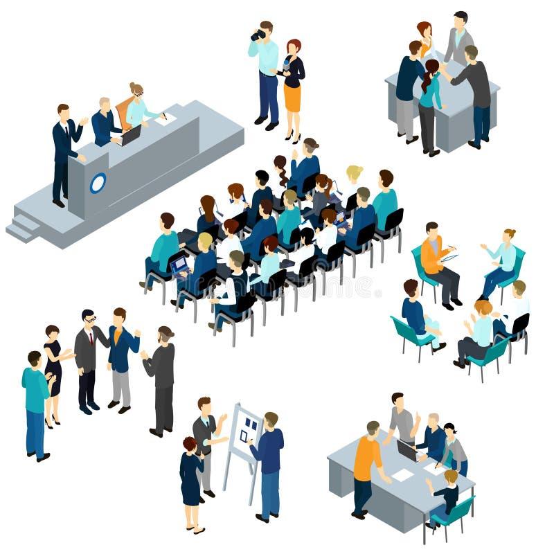 Isometric People Teamwork Set stock illustration