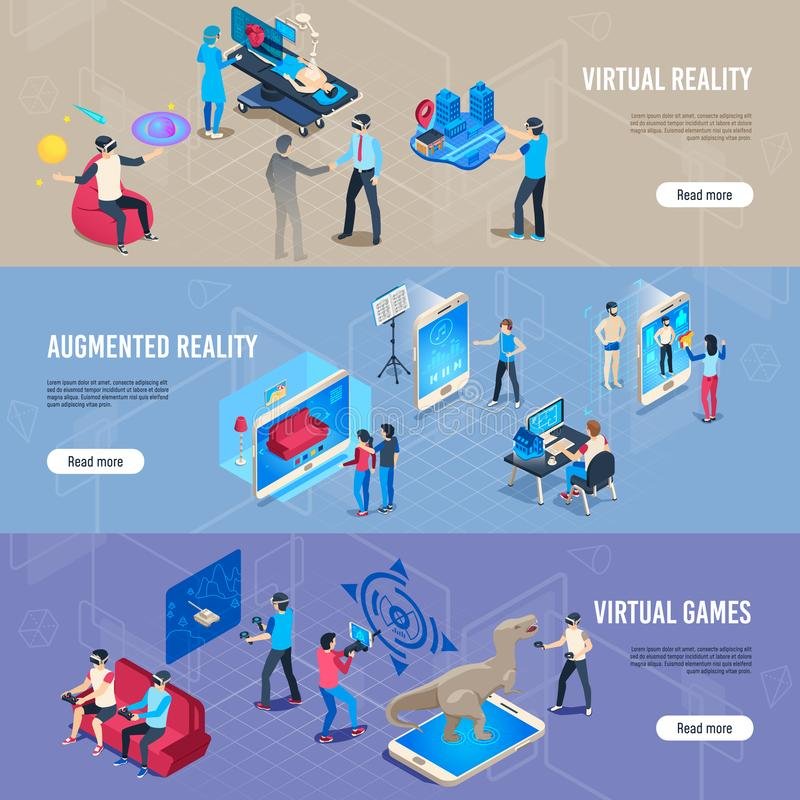 Isometric people in vr. Portable virtual reality simulation headset banners. Vector illustration collection stock illustration