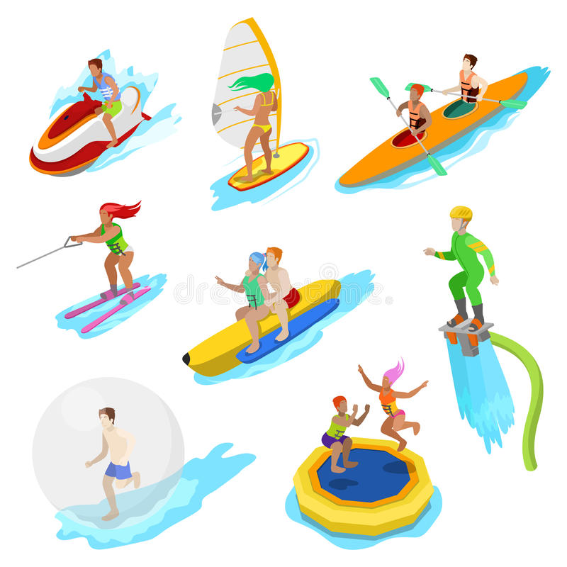 Isometric People on Water Activity. Woman Surfer, Kayaking, Man on Flyboard and Water Skiing vector illustration