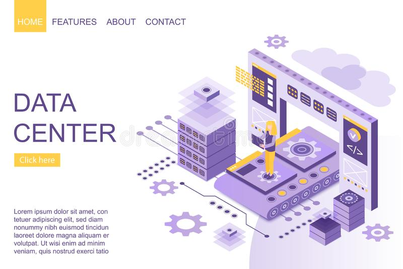 Isometric person standing amidst digital big data storage devices on homepage of website vector illustration. Isometric person standing amidst digital data stock illustration