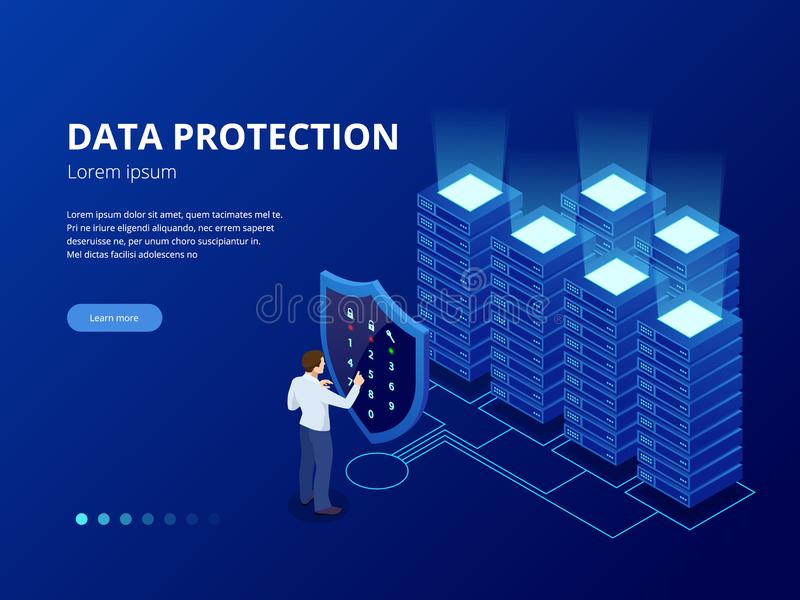 Isometric personal data protection web banner concept. Cyber security and privacy. Traffic Encryption, VPN, Privacy stock illustration