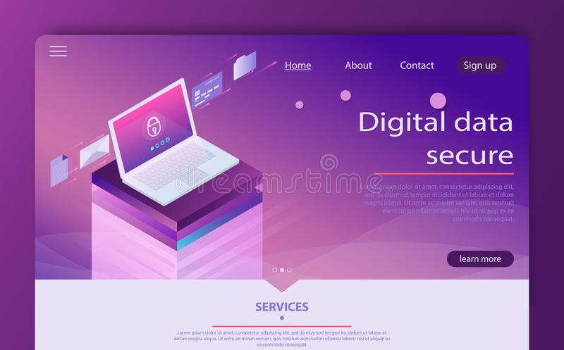 Isometric personal data protection web banner concept. Mobile payments, personal data protection. vector illustration