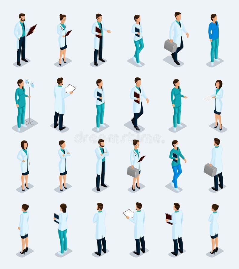 Isometric personel medyczny, lekarka, chirurg, pielęgniarka royalty ilustracja