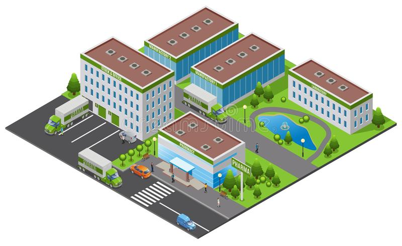 Isometric Pharmaceutical Plant Concept. With office factory laboratory pharmacy buildings trucks people trees water pond isolated vector illustration vector illustration