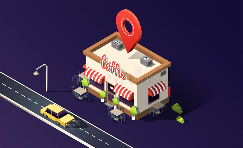 Isometric coffeehouse with road, traffic, taxi cars and location pin on dark purple. 3D vector illustration. Isometric coffeehouse with road, traffic, taxi cars royalty free illustration