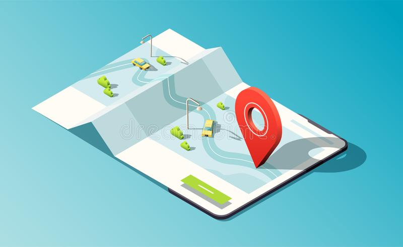 Isometric phone with map application, road, traffic, taxi cars and location pin. 3D vector illustration. Isometric phone with map application, road, traffic stock illustration