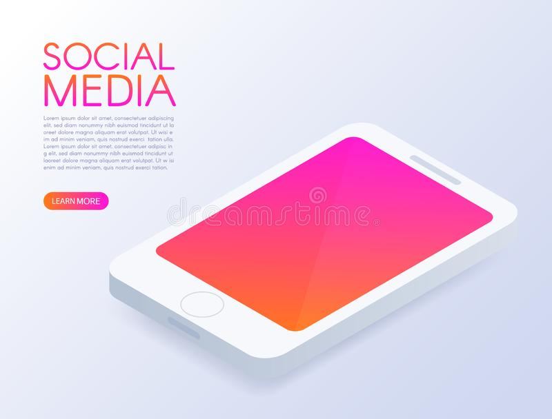 Isometric phone. Mock up mobile phone. Social media design. Screen with modern gradient. Smart and simple web interface. Application development. 3d isometric royalty free illustration