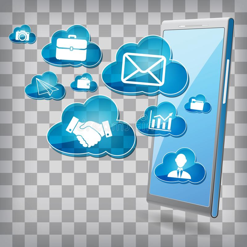 Isometric phone with multimedia and business clouds icons. communications in web - concept stock illustration