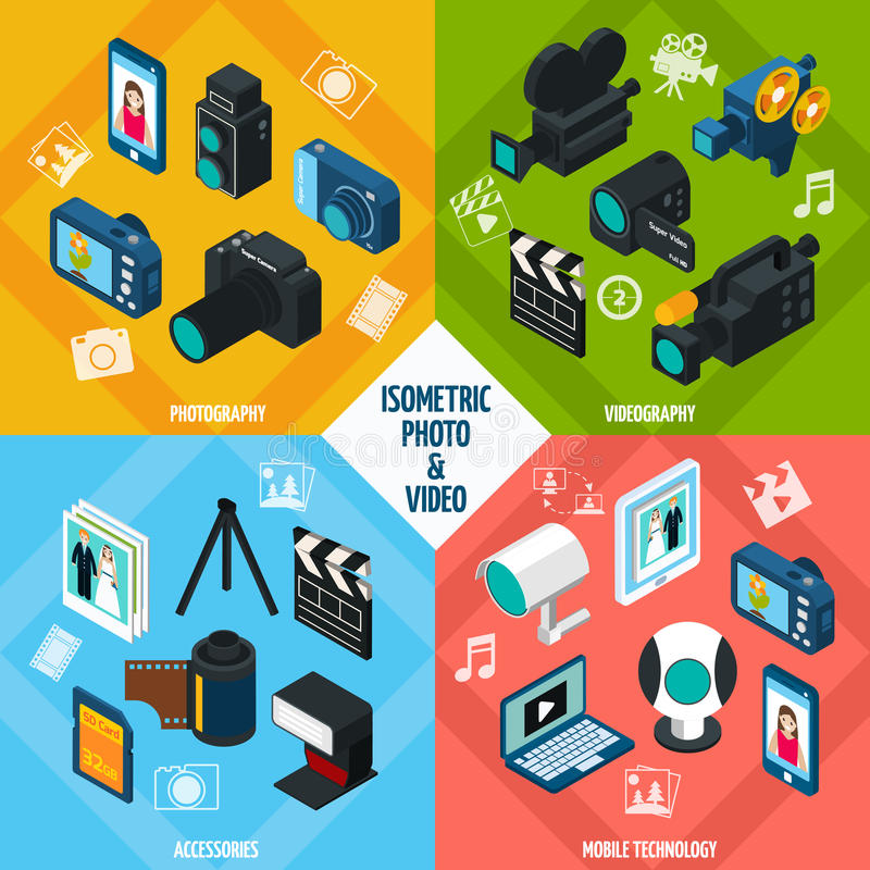 Isometric Photo Video Set vector illustration