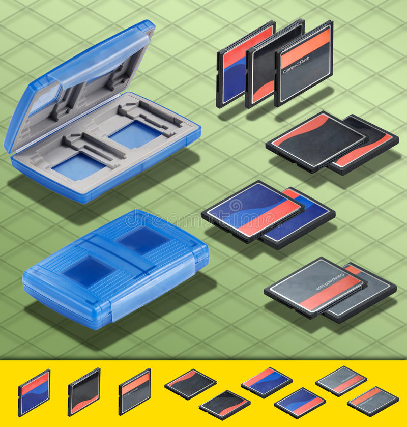 Download Isometric Photograph - Set Of  3 CF Card And A Blu Stock Illustration - Image: 25863327