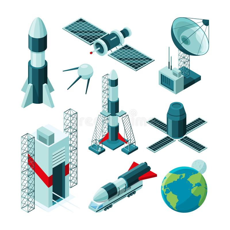 Isometric pictures of different tools and constructions for space center royalty free illustration