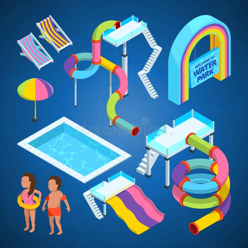 Isometric pictures of water park. Various attractions at swimming pools. Attraction and recreation entertainment aquapark. Vector illustration royalty free illustration