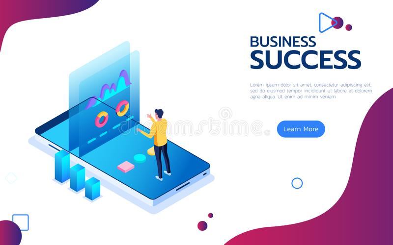 Isometric pieniężny sukcesu pojęcie Biznesmena stojak robić dane analizy rynku szczytowi na smartphone przed ekranem ilustracja wektor