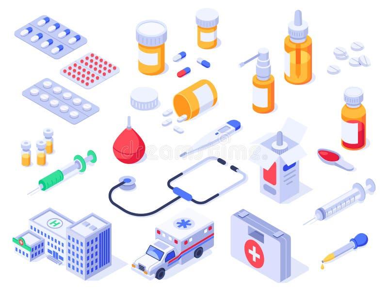 Isometric pierwsza pomoc zestaw Opiek zdrowotnych medyczne pigułki, aptek medycyny i lek butelki, Szpitalna karetka 3d odizolowyw ilustracja wektor
