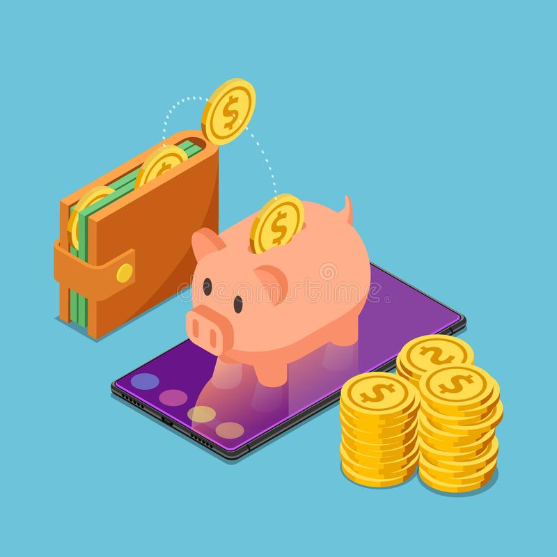 Isometric piggy bank on smartphone with wallet and dollar coins stock illustration