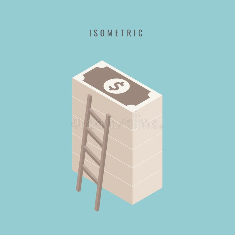 isometric Pilha empilhada grande do dinheiro Centenas de dólares S liso ilustração stock