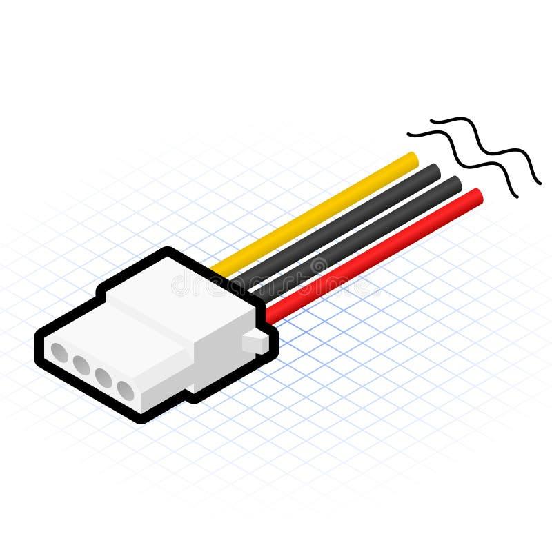 Isometric 4 Pin Power Connector Vector Illustration vector illustration