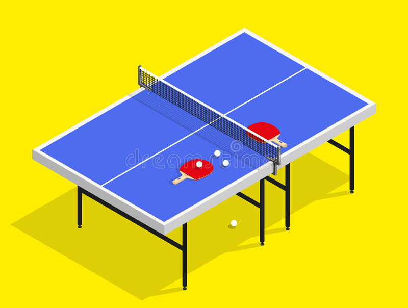Isometric Ping pong still life illustration table tennis racket stock photos