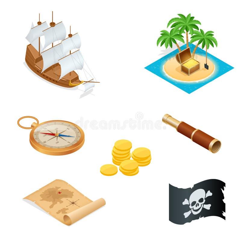 Isometric piratów akcesoriów mieszkania ikony Kolekcja z drewnianą skarb klatką piersiową i czarny byczy Roger zaznaczamy wektor ilustracja wektor
