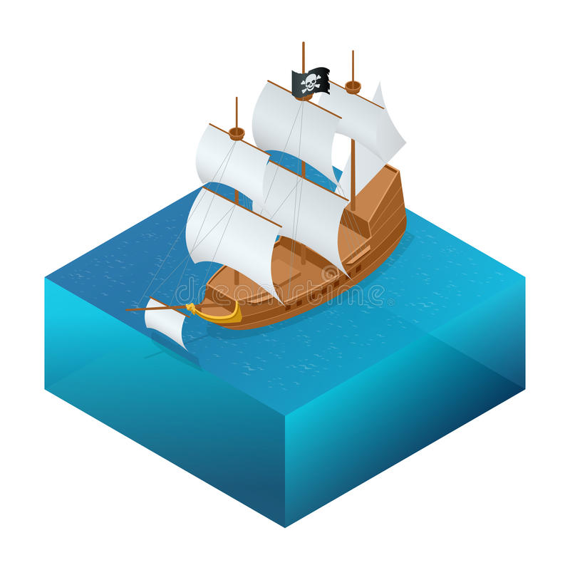 Isometric Pirate Ship with Jolly Roger on water. stock illustration