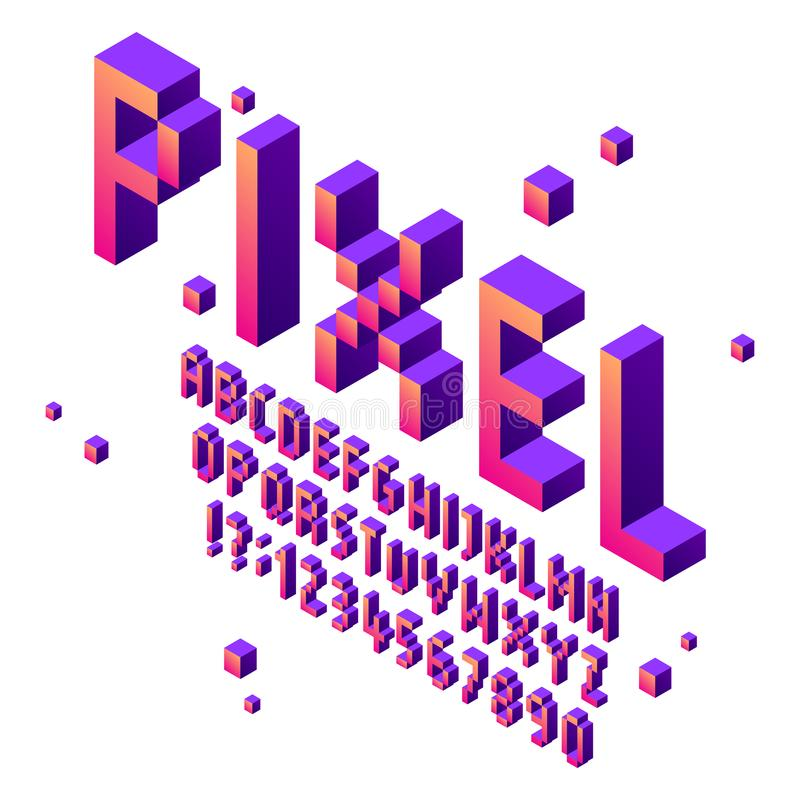 Isometric pixel art font. Arcade game fonts alphabet, retro gaming cubic typographic lettering sign and pixels numbers stock illustration