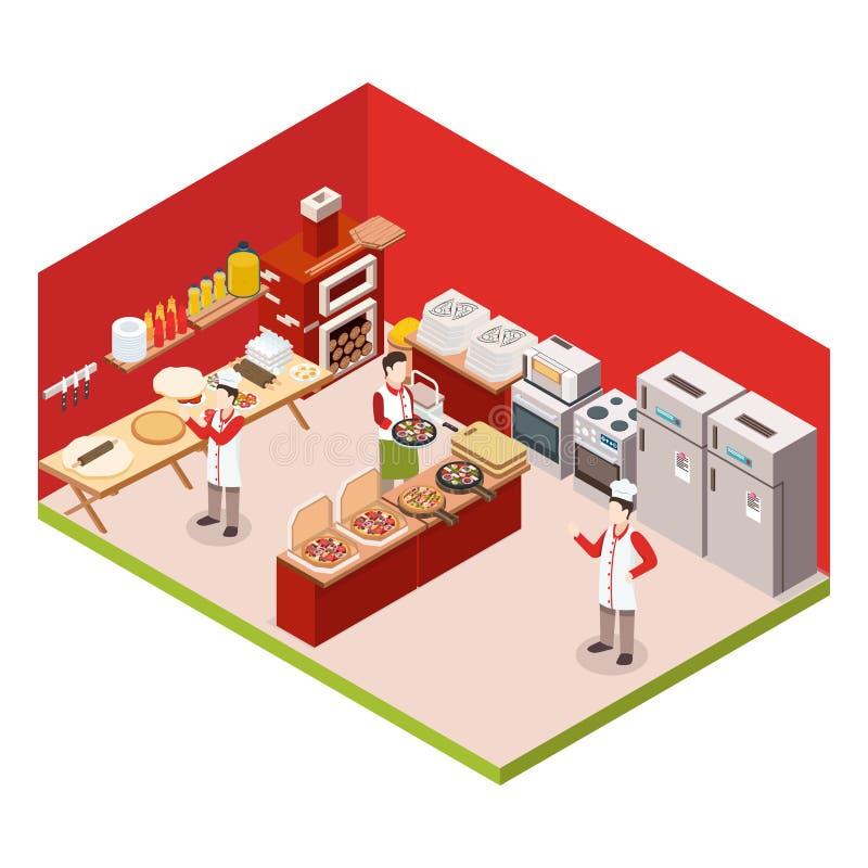 Isometric pizzeria Barwiony tło ilustracji