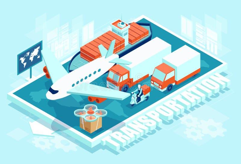 Isometric plan ładunku transport ilustracja wektor