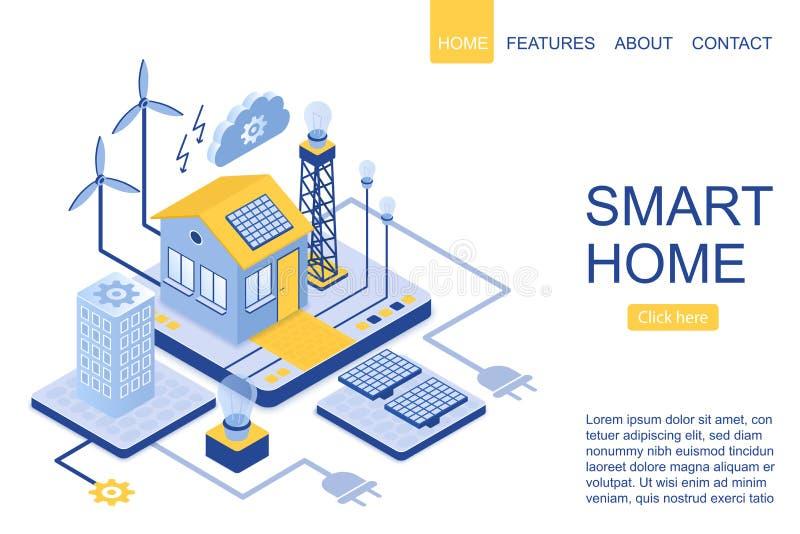Isometric plan nowożytny mądrze dom, zielona energetyczna technologia Desantowa strona szablonu wektoru ilustracja ilustracja wektor