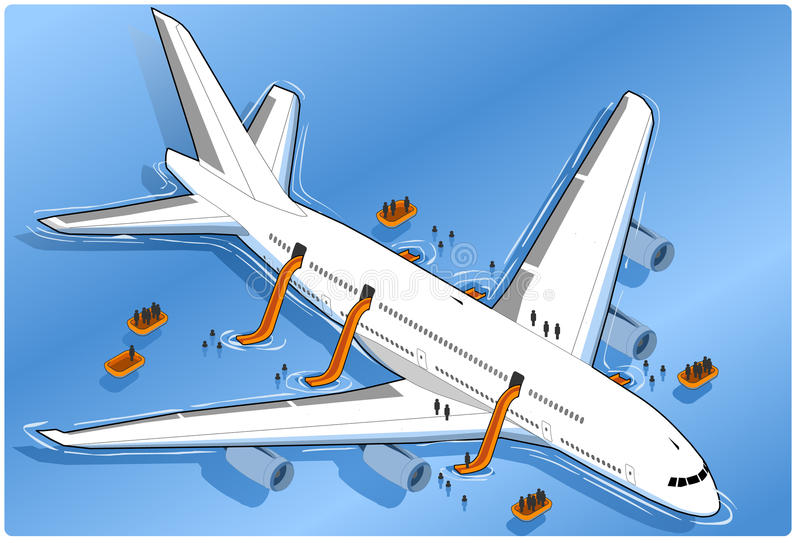 Isometric plane crash, ditched vector illustration