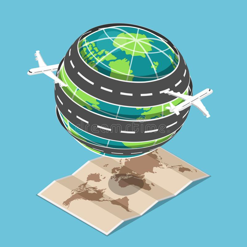 Isometric plane and transportation road circled around the world royalty free illustration