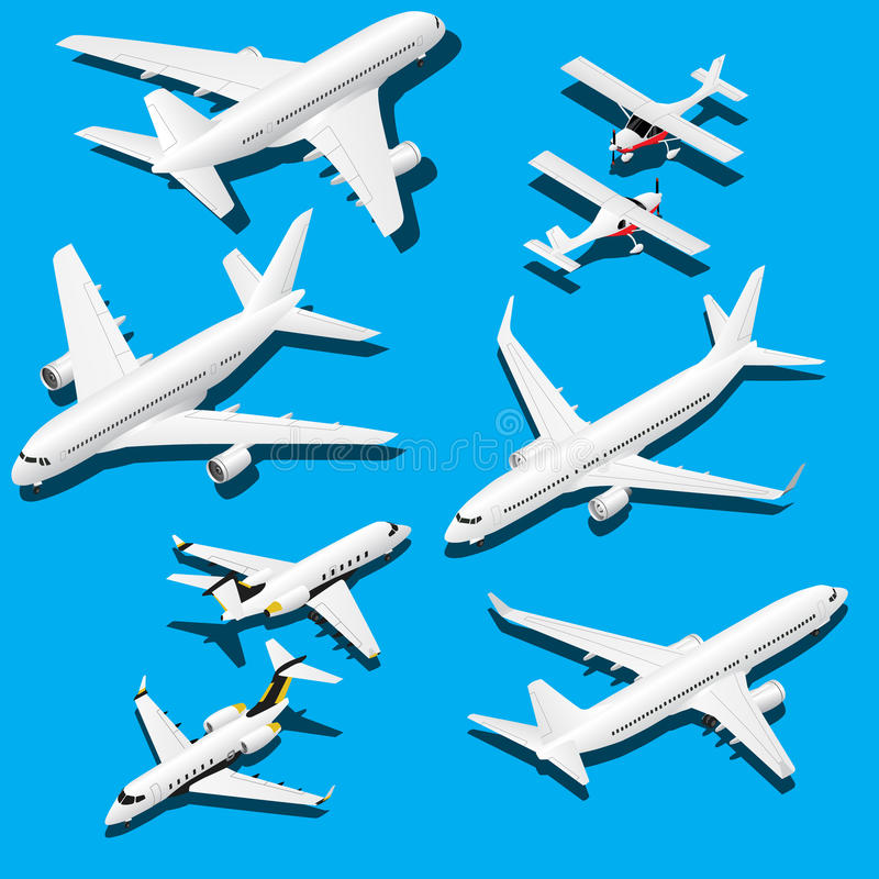 Isometric planes set. Private jet, 2 reactive passenger planes and small plane with propeller stock photo