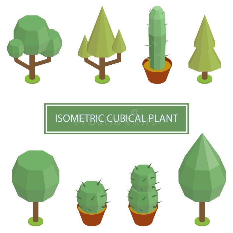 Isometric Plant Tree Bush royalty free illustration