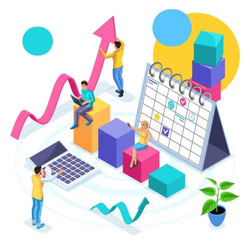 Isometric pojęcie biznesowego planowania i strategii rozwój, młodzi przedsiębiorcy Przegląda analityka sprawdzać dochody, sukces royalty ilustracja
